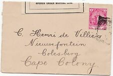 * BOER WAR COVER PASSED PRESS CENSOR & OPENED UNDER MARTIAL LAW LABEL c.1901