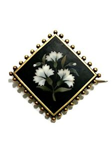 Victorian Onyx Inlaid Floral Mourning Brooch Pin