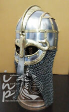Medieval Steel Viking Nasal Helmet With Chainmail Hand Forged SCA/ Larp Decor