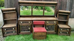 Decorative Carved Wood Mirrored  Dressing Table & Sideboards With Seating