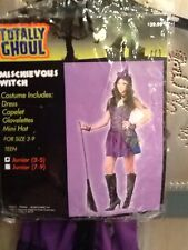 Totally Ghoul Mischievous Witch Black Purple Dress Costume Junior Girl Sz 3-5