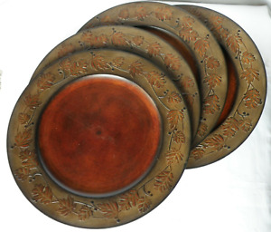 """2010 Set of 4 BETTER HOMES AND GARDENS Faux Copper Leaves 13"""" Charger Plate"""