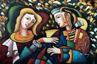 Two Faced Woman & Friend Abstract Portrait Stretched Genuine 24X36 Oil Painting