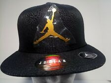 Jordan Jumpman Adjustable Snapback Hat Youth Size Nwt, black/gold