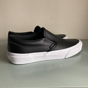 Vans Classic Slip On Leather Black White Sole Women's Size 7.5