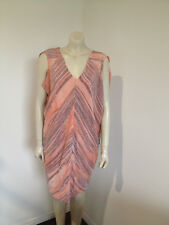 Jayson Brunsdon 100% Pure Silk Orange Grey Evening Party Sleeveless Dress Size 8