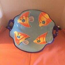 Baum Brothers For Style-Eyes Angle Fish Serving Bowl/14 X 14 X 5/EUC