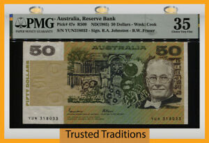 TT PK 47e ND (1985) AUSTRALIA RESERVE BANK 50 DOLLARS PMG 35 CHOICE VERY FINE!