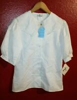 White Button Collared Blouse XS Button Up Short Sleeve Shirt New with Tags