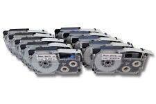 10x Cassette à ruban 9mm x 8m noire sur blanc pour CASIO XR-9WE / XR-9WE1