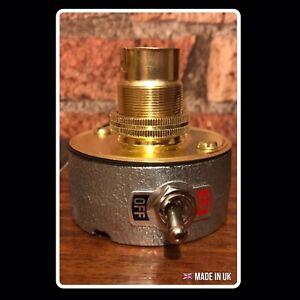 Desk Lamp Light Industrial Vintage Retro Steampunk Galvanised & Brass Green Flex
