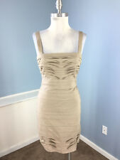 BCBG Maxazria S 4 Taupe brown Dress Sheath Tiered Cocktail Formal EUC gravel