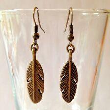 HANDMADE BRONZE FEATHER DANGLE EARRINGS - 1 3/4 INCHES LONG - FREE SHIPPING USA