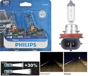 Philips VIsion 30% H11 55W Two Bulbs Fog Light Replacement Halogen Upgrade Stock