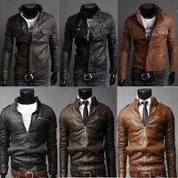 Sexy Men's Slim Fit Top Designed Biker Motorcycle PU Leather Short Jacket Coats