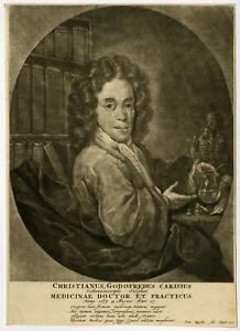 Rare Antique Master Print-CHRISTIANUS GODOFREDUS CARISIUS-PHYSICIAN-Schenck-1704
