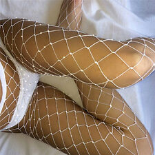 Diamante Embellished Rhinestone Crystal Glitter Medium Diamond Fishnet Tights HG