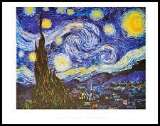 Vincent van Gogh Sternennacht Poster Kunstdruck mit Alu Rahmen schwarz 60x80cm