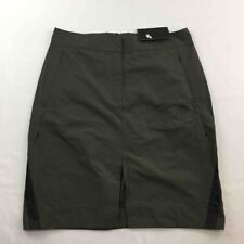 Nike Womens Sports Bonded Skirt Olive Green Front Slit Zipper Pockets M New