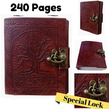 Leather Blank Book Sketchbook Journal Diary Notebook Vintage Classic WITH LOCK