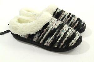 West Loop Women's Grey Black Cream Indoor/outdoor Foam Slippers Size 5-6