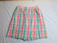 Napa Valley Skort Short Pink Green Yellow Plaid Tennis Golf Light Weight Size 10