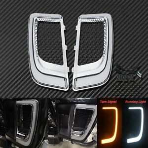 LED Fairing Lower Chrome Grill W/Turn Signal Light Fit For Harley Electra Glide