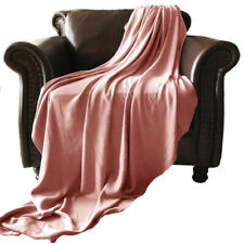 """DISPLAY - SUPER COZY 100% bamboo fiber blanket. TWIN SIZE 66X86"""". DUSTY CORAL"""