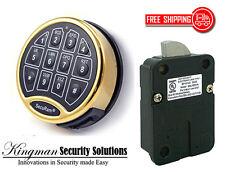 SecuRam Safelogic Basic II Lock & Keypad Kit - Swingbolt - Brass Finish