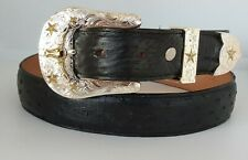 Hand made western genuine ostrich leather skin belt size 38 adjustable to fit
