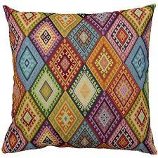 "Geometric Turkish Kilim Cushion. 23x23"" Square. Heavyweight Traditional Tapestry"