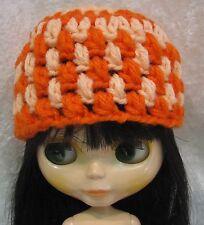 BLYTHE Doll Clothes HAT #10 Handmade Beanie Orange & Peach CAP