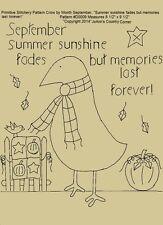 Primitive Pattern September Crow Summer sunshine fades but memories last forever