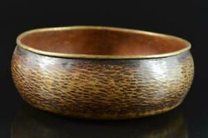 L942:Japan Copper Finish hammer pattern Kashiki CAKE BOX/Confectionery container