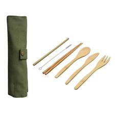 6PCS Japanese Wooden Bamboo Straw Cutlery Set With Cloth Bag Kitchen Tools