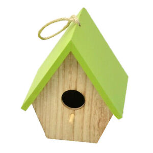 Wooden Garden Birdhouse With Colour Roof - Green