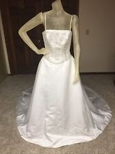 Anjolique Wedding Dress Size 10 White Ballgown Beaded