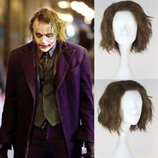The Dark Knight joker Men's Short Curly Light Brown Anime Cosplay Classic wig