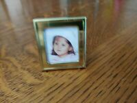 """Cute Vintage Brass Small Square Standing Frame Kickstand Back Metal 1.5""""x1.5"""""""