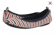 🔥 New BANDOLINO Edina Red Multi Canvas Stripe Ballet Slip On Flats Shoes Sz 6