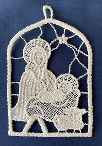 Christmas Decoration/Ornament - cream lace - Nativity, Madonna & Child