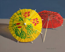 DANFORTH Paper Umbrellas 8x10 still life realistic oil painting, fun
