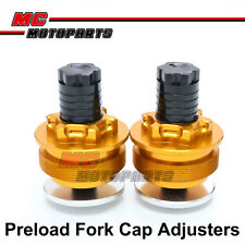 Gold CNC Preload Fork Cap Adjusters For Suzuki GSF650 Bandit 2005-2012
