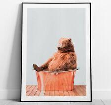 Bear in Tin Bath Art Print, Bear Poster, Home Decor Wall Art
