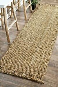Rug Runner 100% Natural Jute Loop Braided Style Area Rug Modern Living Carpet