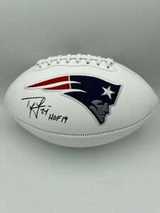 Ty Law Signed New England Patriots White Panel Football COA HOLO HOF 19