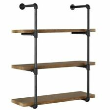 3 Tier Vintage Industrial Iron Pipe Wall Shelves Storage Diy Bookshelf Bracket