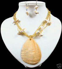 MOP shell AMBER GLASS bead NECKLACE&EARRINGS beaded set