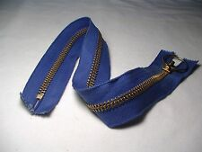 """18"""" Blue Heavy Duty Non - Seperating Talon Zipper with Brass Teeth and Pull Ring"""