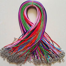 Wholesale 1.5mm color Wax Leather Cord Necklace Rope Chain Lobster Clasp 100pcs